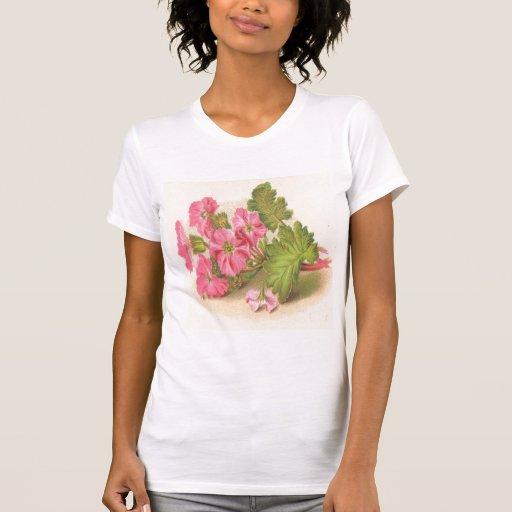 Vintage, Pink Flowers, Green Leaves, Tshirt