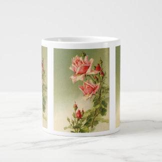Vintage Pink Garden Roses for Valentine's Day Jumbo Mug