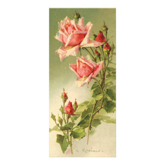 Vintage Pink Garden Roses for Valentine's Day Rack Card Template