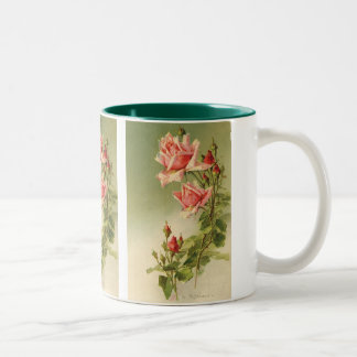 Vintage Pink Garden Roses for Valentine's Day Two-Tone Coffee Mug