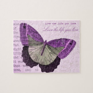 Vintage pink girly butterfly inspirational quote puzzles