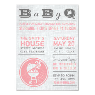 Vintage Pink Gray BBQ Girl Baby Shower Invitations