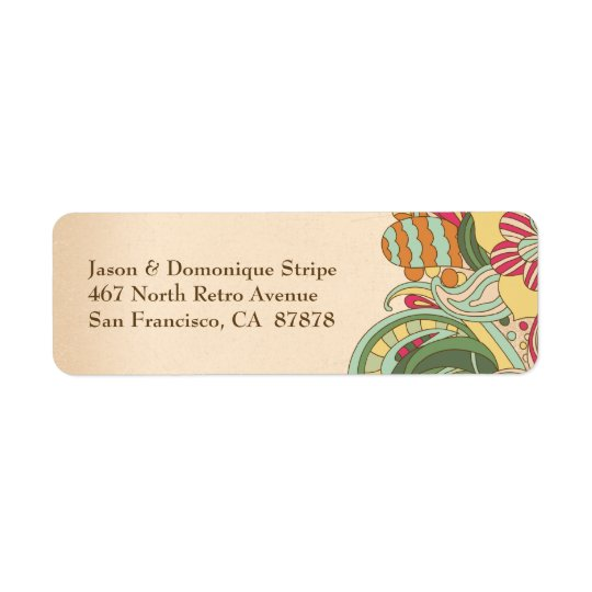 Vintage pink green floral swirl address labels