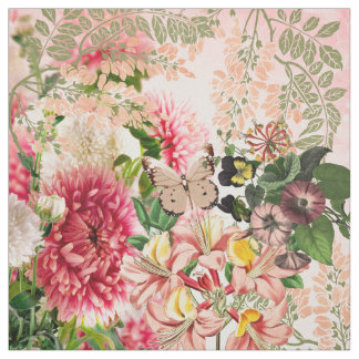 Vintage pink green flowers brown butterfly fabric