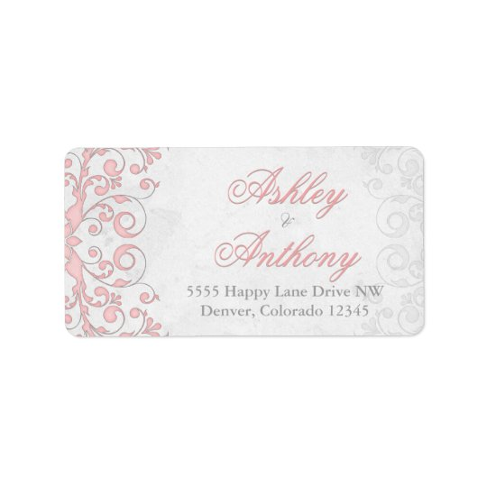 Vintage Pink Grey Floral Wedding Address Labels