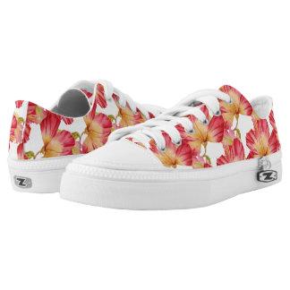 Vintage Pink Hibiscus Floral Low Top Shoes