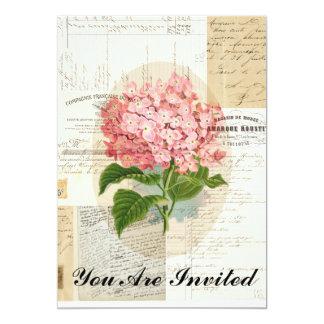 Vintage Pink Hydrangea French Ephemera Invitation