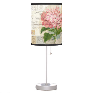 Vintage Pink Hydrangea French Ephemera Lamp