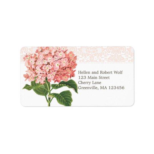 Vintage Pink Hydrangea Label