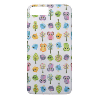 Vintage pink lavender cute funny owl floral iPhone 8 plus/7 plus case