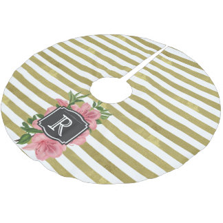 Vintage Pink Lilies and Stripes Monogram Initial Brushed Polyester Tree Skirt