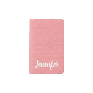Vintage Pink Love Hearts Personalized Pocket Moleskine Notebook