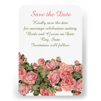 Vintage Pink Magic Roses Save the date Invites