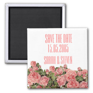 Vintage Pink Magic Roses Save the date Refrigerator Magnets