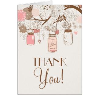 Vintage Pink Mason Jars Flora Thank You Card