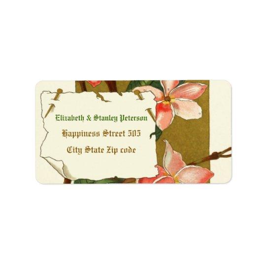 Vintage pink oleander flowers wedding label