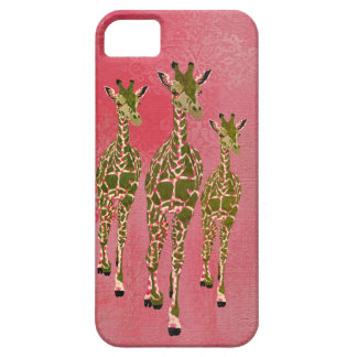 Vintage Pink & Olive Rose Giraffes iPhone Case
