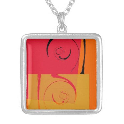 Vintage Pink, orange, yellow, black retro art deco Personalized Necklace