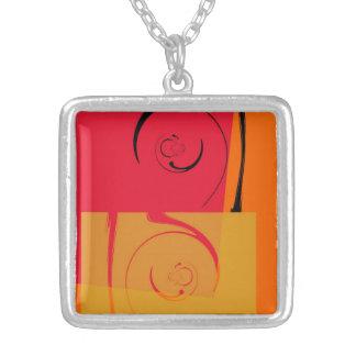 Vintage Pink, orange, yellow, black retro art deco Square Pendant Necklace