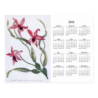 Vintage Pink Orchid 2016 Floral Calendar Postcard
