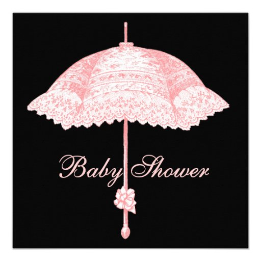 Vintage Pink Parasol Baby Girl Shower Personalized Invitation