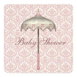 "Vintage Pink Parasol Umbrella Baby Girl Shower 5.25"" Square Invitation Card"