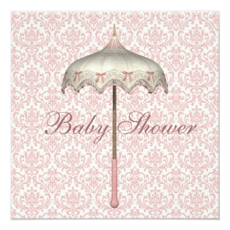 Vintage Pink Parasol Umbrella Baby Girl Shower Card