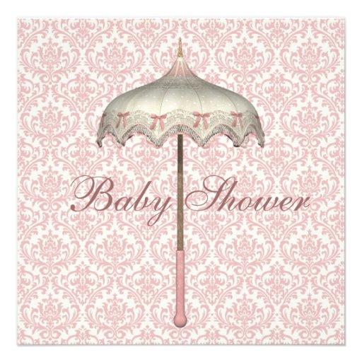 Vintage Pink Parasol Umbrella Baby Girl Shower Custom Invite