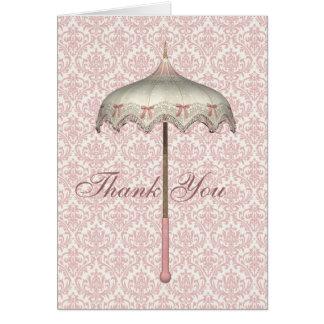 Vintage Pink Parasol Umbrella Thank You Cards