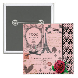 Vintage Pink Paris Collage 2 Inch Square Button