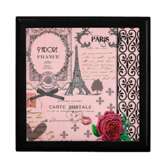 Vintage Pink Paris Collage jewelry box
