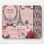 Vintage Pink Paris Collage Mouse Pad