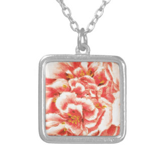 Vintage Pink Peonies Silver Plated Necklace