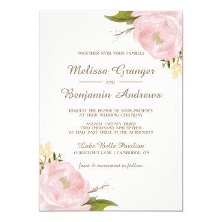 Vintage Pink Peonies Wedding Invitation
