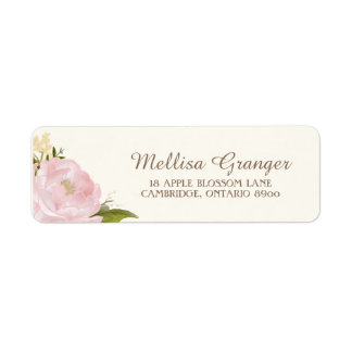 Vintage Pink Peonies Wedding Return Address Label