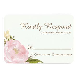 Vintage Pink Peonies Wedding RSVP Card