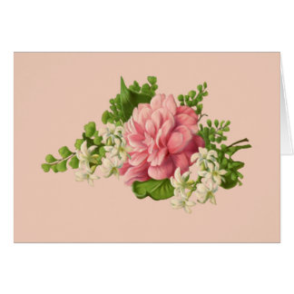 Vintage Pink Peony and White Jasmine, blank Stationery Note Card