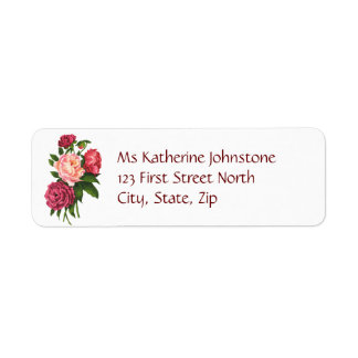 Vintage Pink Peony Garden Flowers Return Address Label