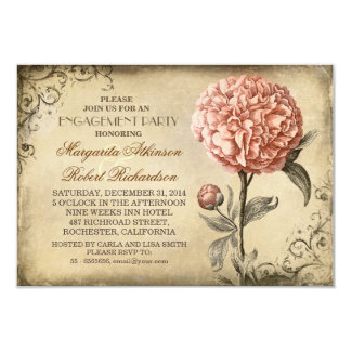 """vintage pink peony rustic engagement party 3.5"""" x 5"""" invitation card"""