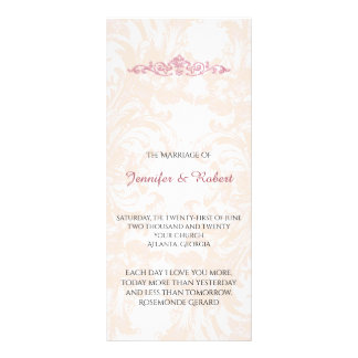 Vintage Pink Peony Wedding Program