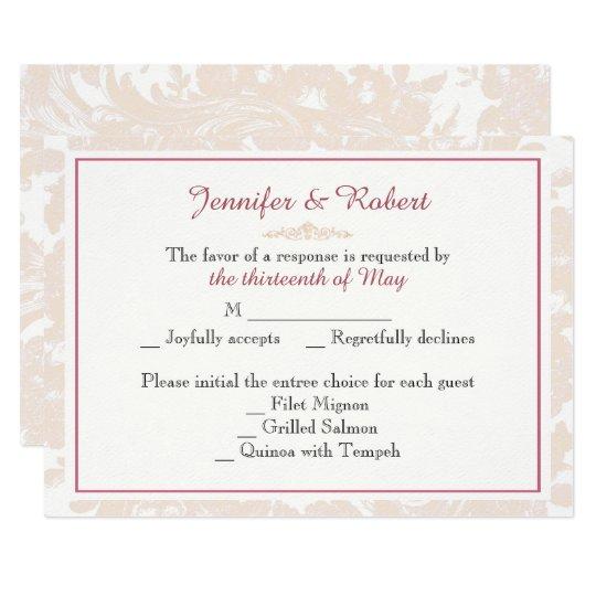 Vintage Pink Peony Wedding Response Card
