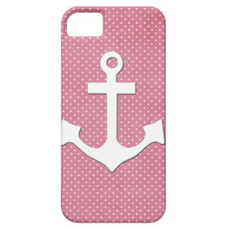 Vintage Pink Polka Dots White Nautical Anchor iPhone 5 Cases