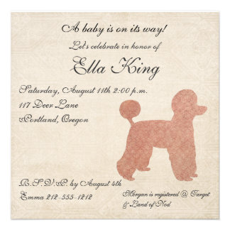 Vintage Pink Poodle Silhouette Baby Invitation