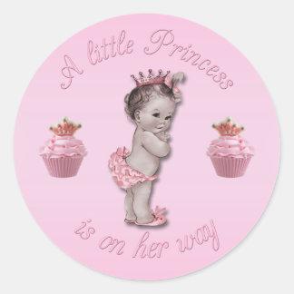 Vintage Pink Princess Baby & Cupcakes Shower Classic Round Sticker