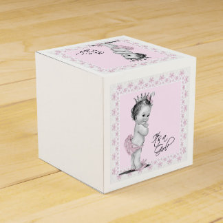 Vintage Pink Princess Baby Shower Favor Box