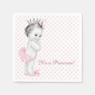 Vintage Pink Princess Baby Shower Paper Napkins