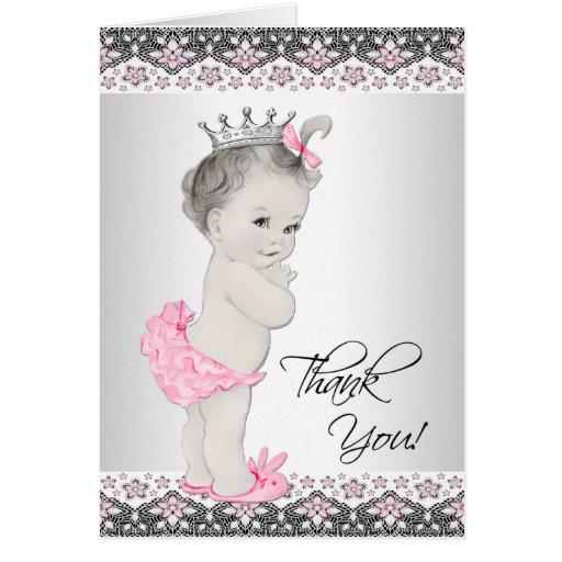 Vintage Baby Shower Thank You Cards: Pink Black Baby Shower Thank Cards, Photocards