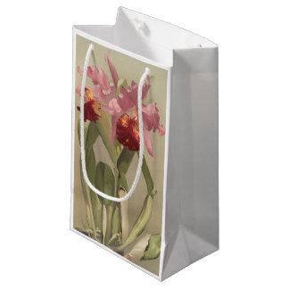 Vintage pink red cattleya orchid flower gift bag