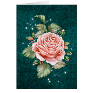 Vintage Pink Rose and Elegant Teal Thinking of You Card