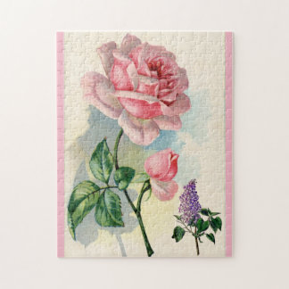 Vintage Pink Rose and Lilac Flowers Garden Floral Jigsaw Puzzle